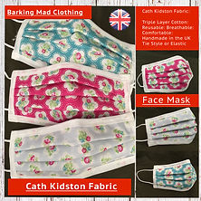 Cath Kidston Face Mask, Designer Face Masks, Quality, Triple Layered Cotton, Reusable, Washable, Free UK Delivery