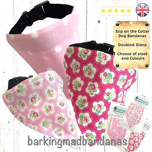 Pink Bandanas, Dog Bandana Collar, Slide on the Collar Pink Bandanas UK, Girl Dog Bandanas, Slip on the Collar Bandanas UK