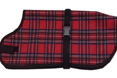Red Tartan Waterproof Dog Coats, UK Dog Coats, Made to Measure
