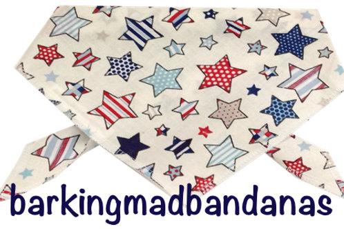 Multi star design dog bandana, quality cotton, luxury dog bandanas uk