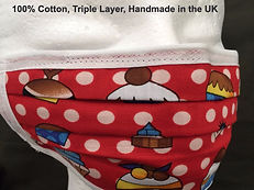 Cupcake Red Face Mask, Covid, Triple Layer, Cotton, Breathable, Washable, UK, Handmade