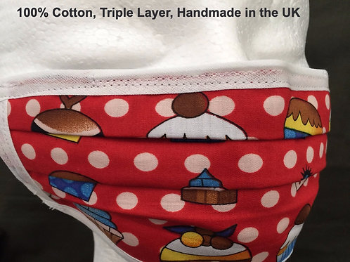Triple Cotton Layer Face Mask, Handmade in the UK, Reusable, Breathable, Cotton, Designer, Quality Handmade product