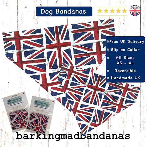 Slide Collar Dog Bandanas, Boys Dog Bandanas, XL Dog Bandanas, Union Jack Dog Bandanas, Boy Birthday Dog Bandanas UK