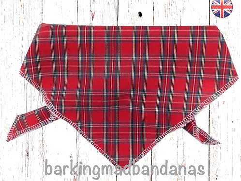 Red Tartan Dog Bandana, Scotland Bandanas, Scotland Design, Handmade UK