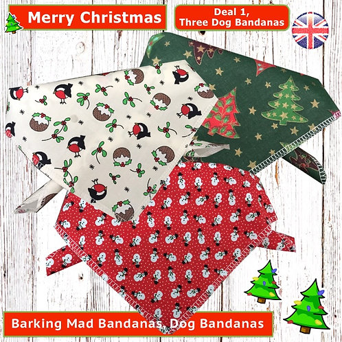 Christmas Bandana Deals, Christmas Dog Clothing, Christmas Dog Clothes, Handmade UK, Christmas