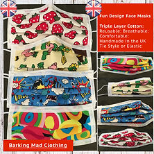Fun Face Masks for all the family, Qulaity Triple Layered Cotton, Tie Style or Elastic, Handmade in the UK and free fast delivery