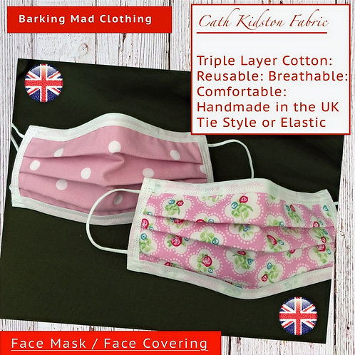 Cath Kidston Designer Face Mask, Face Covering, three layers, washable, reusable, Handmade in the UK, Pink