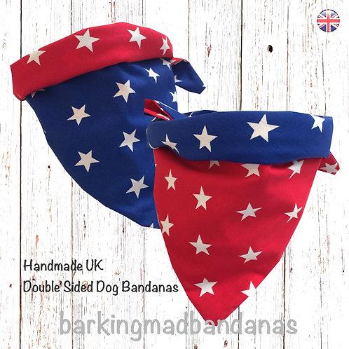 Double Bandanas, Two Bandanas, Blue Bandanas, Red Bandanas, Cotton Bandanas, Personalised, Pets, UK Pet Supplies