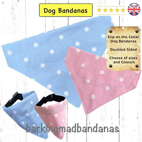 Blue Dog Bandanas UK, Blue Slip on the Collar Dog Bandanas, Blue Slide on the collar Dog Bandanas, XL Dog Bandanas, Gifts