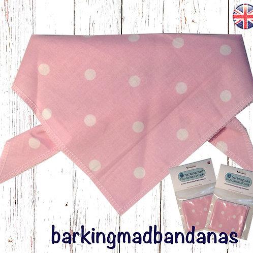 Baby Pink polka dot luxury dog bandana, trade, wholesale dog supplies, dog bandanas UK