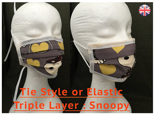 Face Mask, Face Covering, Designer, Disney, Snoopy, Triple Layer
