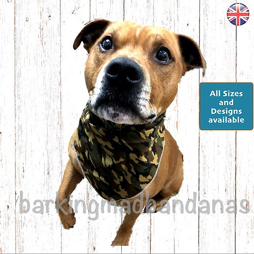 Army Dog Bandanas, Camouflage Dog Clothing, Camouflage Army dog accessories, Luxury Dog Bandanas