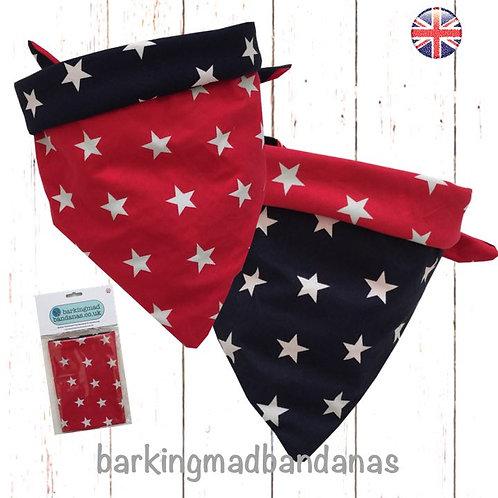 Double sided Dog Bandana, Two Sides, Dog Clothing, Neck Scarf, Star Design, Handmade UK