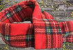 Red Tartan Fleece Dog Scarf, Red Tartan Scarf, Red Tartan Bandanas, Royal Steward Scarf, Dogs Birthday Gift, UK Handmade