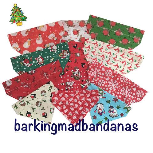 Christmas Dog Groomers, Christmas Dog Grooming, Christmas Dog Slider Bandanas, Handmade in the UK