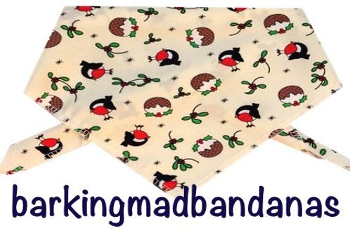 Christmas Robins Dog Bandanas, Christmas Dog Gifts, Christmas outfits, Cotton, UK