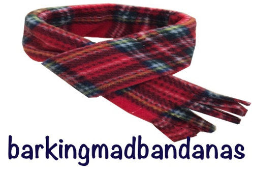 Red Check fleece dog scarf, Dog birthday, Christmas Scarf, Dog Bandana, Red Tartan, Handmade UK, Northampton, Scarves, Dogs