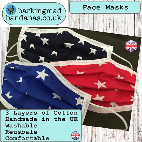 Face Masks, UK Handmade, Triple Cotton Layer, Fast Delivery, Washable, Reusable, UK, Covid-19