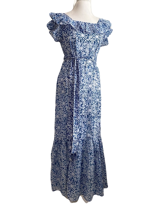 MAXI hortense dress en bleu trellis