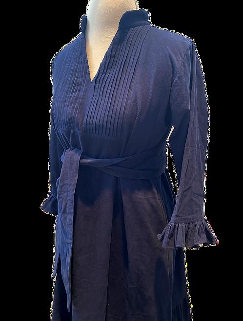 monceau dress en corduroy, bleu marin