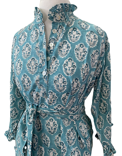 Sassaroo Dress en Turquoise Toile