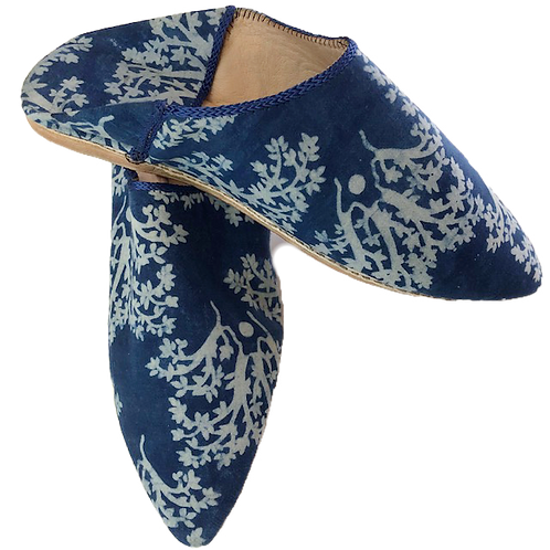 babouches - blue floral & blue trim