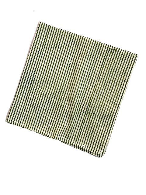 Striped napkin set (6) en verte
