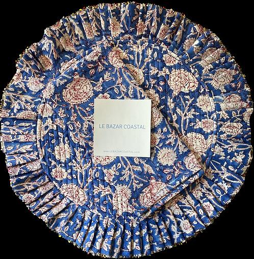 Flounce Placemat & Napkin Set en Bleu et Rouge