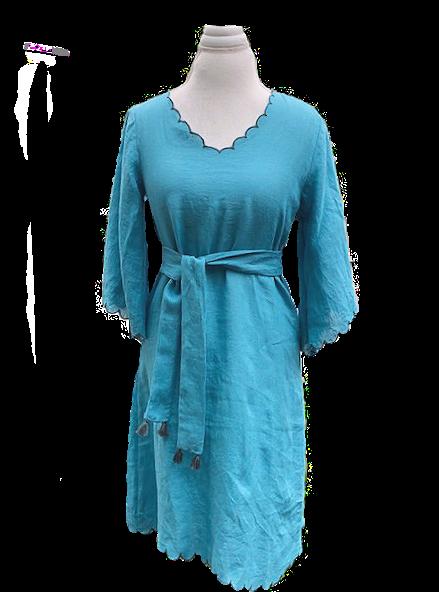 gemma dress en peacock linen