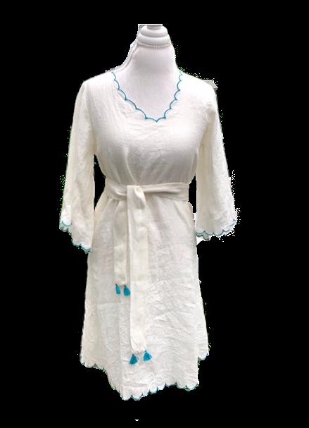 gemma dress en white & turquoise
