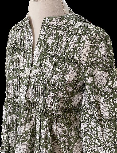 pintuck perfection tunic dress - fern green floral