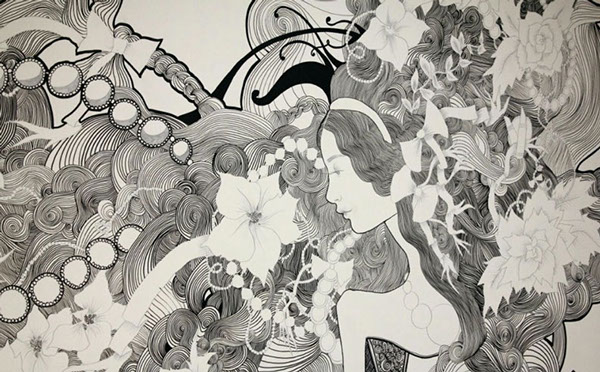 HARVEYNICHOLS-WALL-MURAL-PEN-AND-INK4