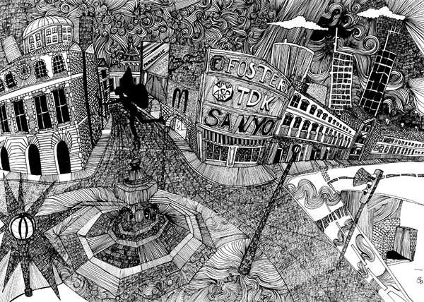 Piccadilly Circus, pen and ink_