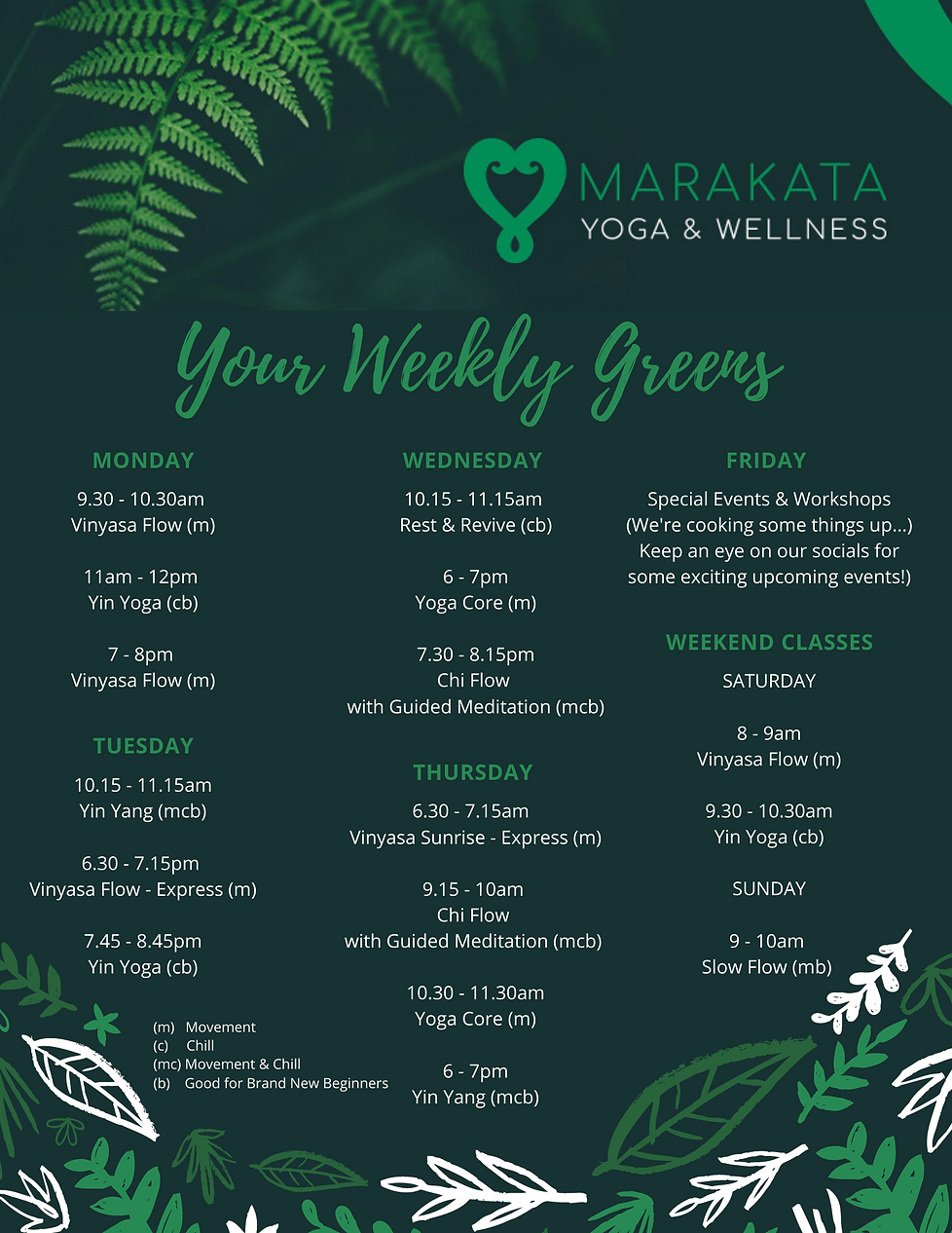 YOUR WEEKLY GREENS CLASS SCHEDULE .png