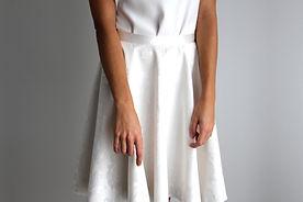 Marine M-Robe de mariée-jupe patineuse-jupe-coton-jupe courte-blanc-mariage mairie