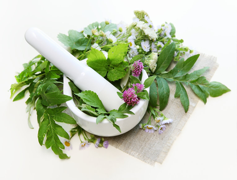 Flowers with Healthy Herbs and Mortar Co