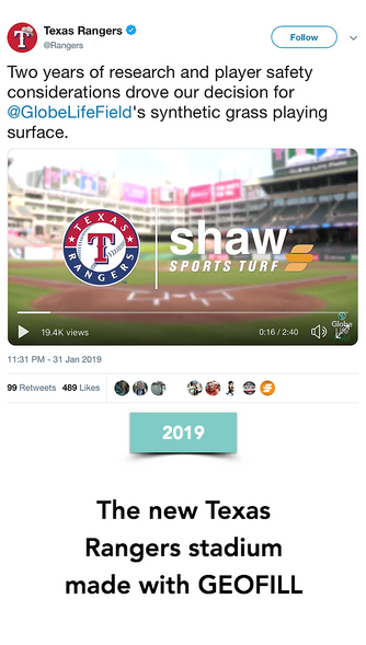 The Major League Baseball team Texas Rangers go with GEOFILL and synthetic turf for their new stadium after two years of research on player safety and quality of gameplay