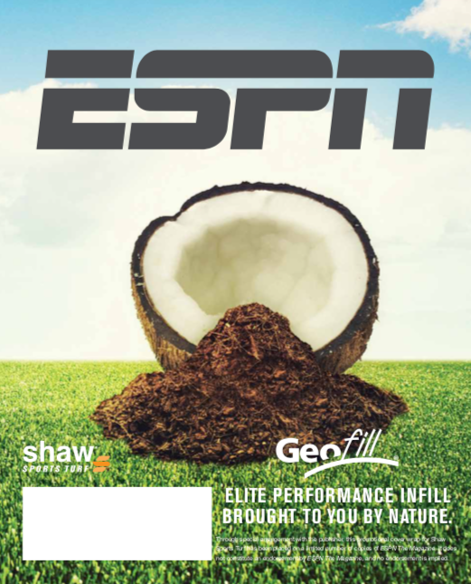GEOFILL featured in ESPN magazine, showing the future of synthetic field infills for American football