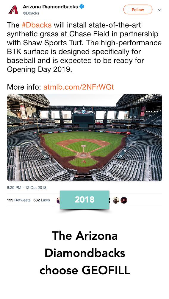 The Arizona Diamondbacks Major League Baseball team choose GEOFILL for their stadium