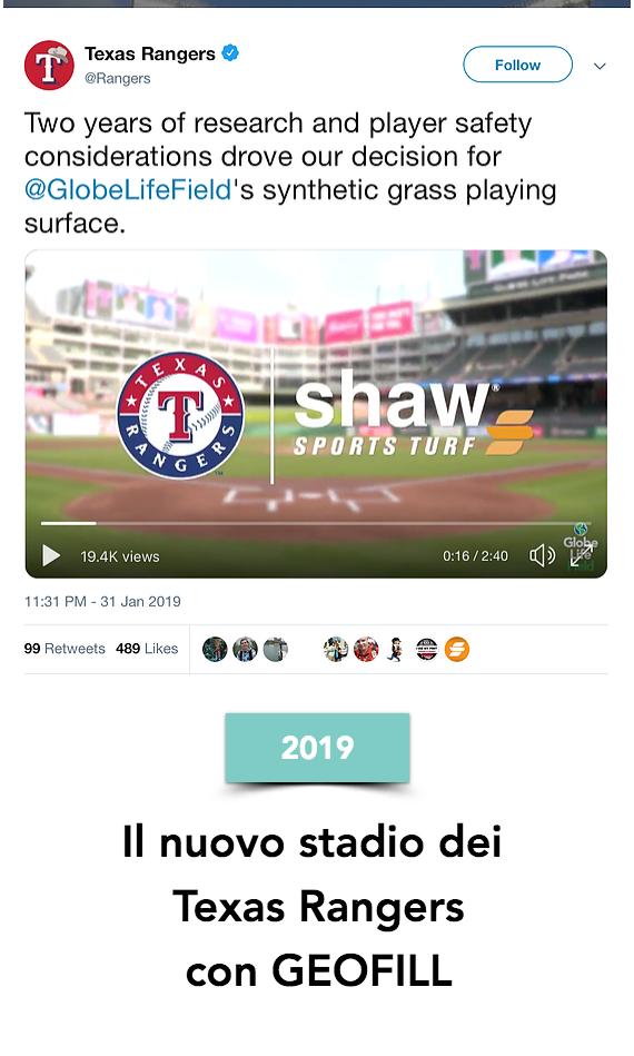 Il nuovo stadio dei Texas Rangers del Major League Baseball (MLB) Americano con GEOFILL