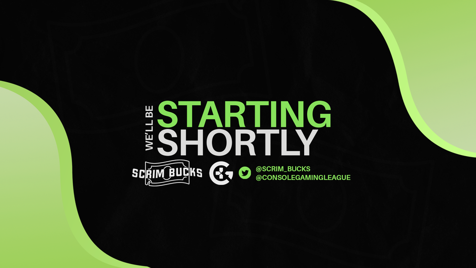 Starting soon screen for Scrim Bucks podcast