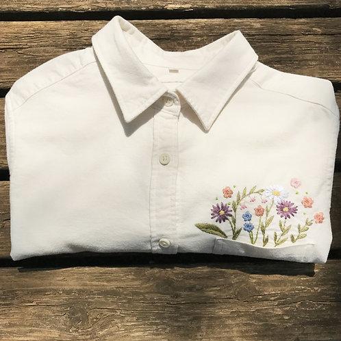 FLOWER (胸) Yシャツ (Lady's)