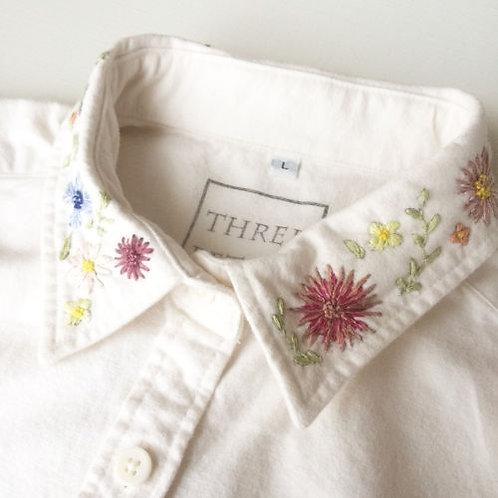 FLOWER (襟) Yシャツ 胸ワンポイント