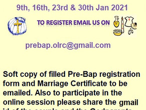 Pre-Baptismal Catechesis Programme (9th, 16th, 23rd and 30th Jan 2021)