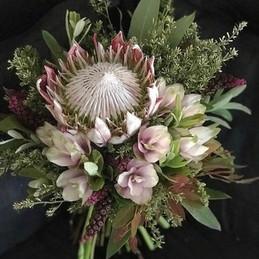 Bouquet Protéia com Curcuma nude e folhagens