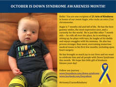 Recap of 21 Acts of Kindness for Down Syndrome Awareness Month
