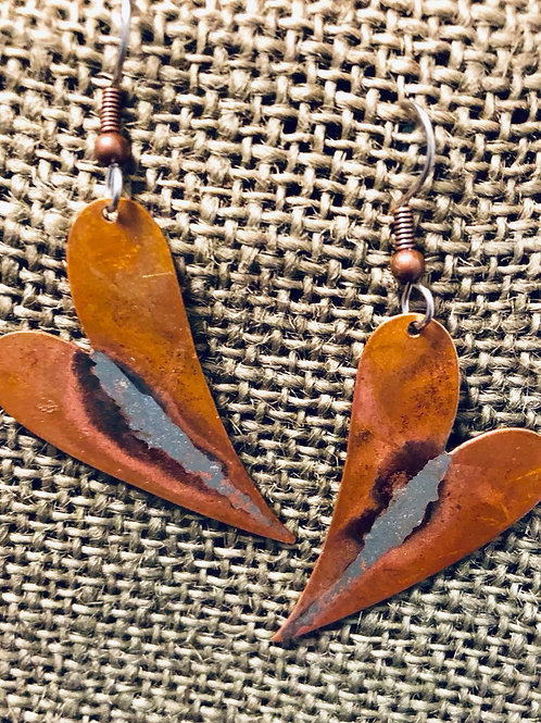 Copper Hearts with Geode Earrings  (Medium)