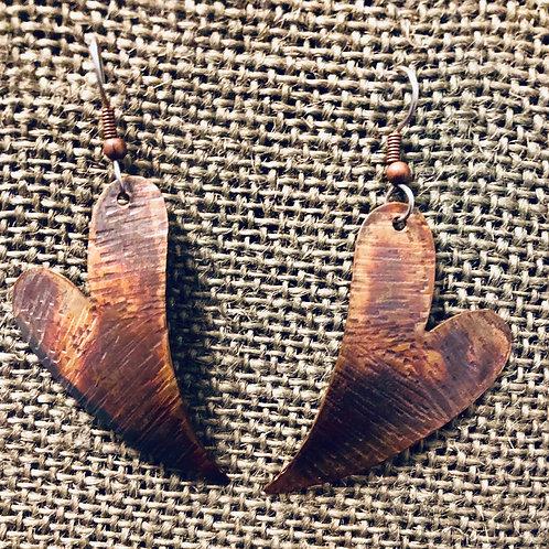Copper Heart Earrings (Medium)