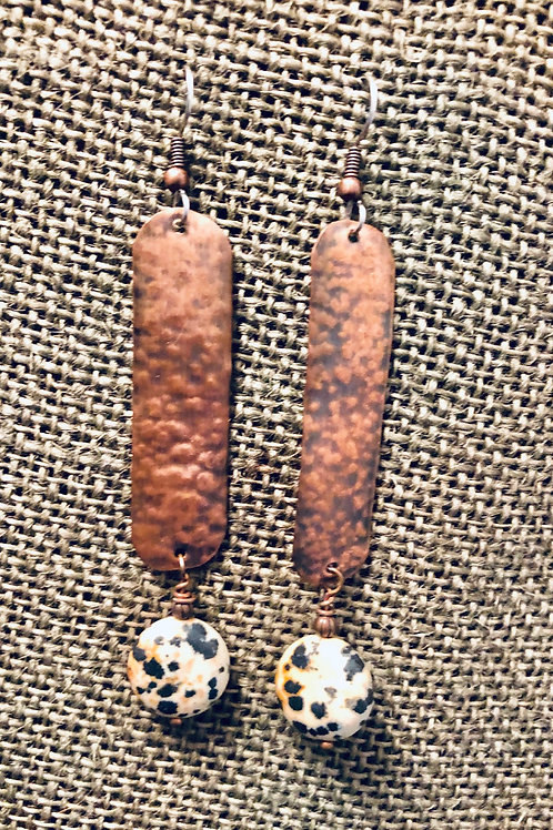 Copper Earrings with Jasper Dalmatian (Large)
