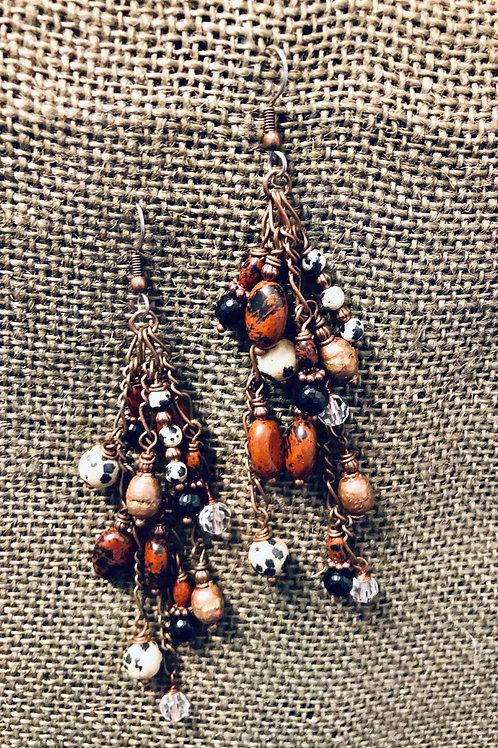 Copper Mixed Beaded Chandelier Earrings (Medium)